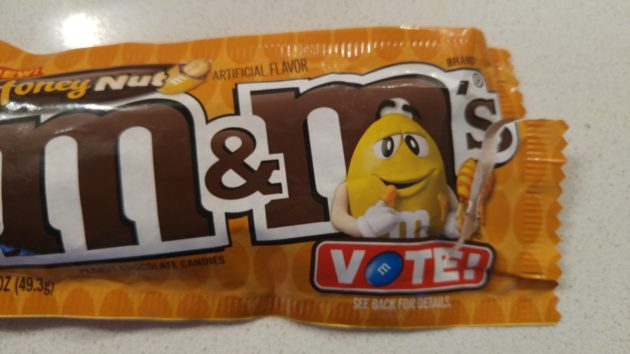 They even made the M&M on the package look stoned, because drugs are the only thing that could possibly make these palatable.